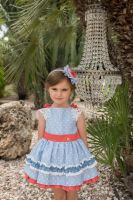 Girls Dolce Petit Blue, White and Coral Dress 2242