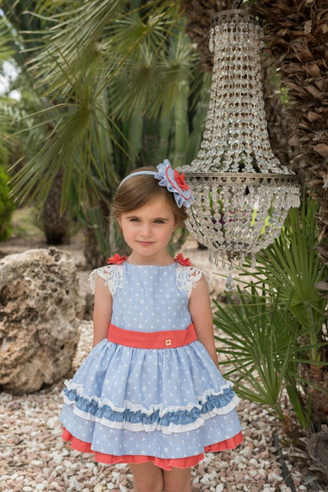 PRE ORDER SS20 Girls Dolce Petit Blue, White and Coral Dress 2242