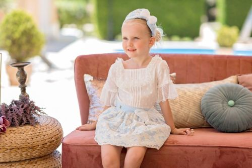 PRE ORDER SS20 Girls Dolce Petit Blue and White Skirt Set 2240