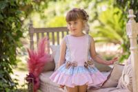 Girls Dolce Petit Blue, Pink and Camel Dress 2253
