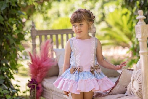 PRE ORDER SS20 Girls Dolce Petit Blue, Pink and Camel Dress 2253