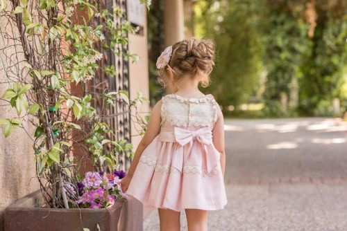 PRE ORDER SS20 Girls Dolce Petit Powder Pink and Cream Dress 2265