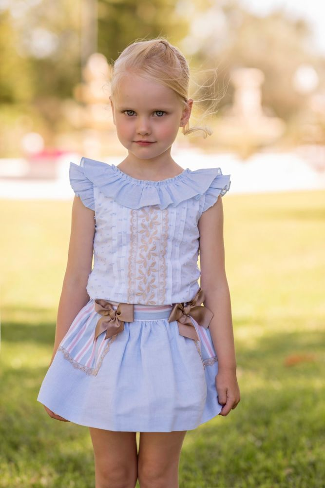 PRE ORDER SS20 Girls Dolce Petit Blue, White and Camel Skirt Set 2249