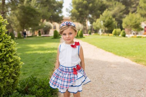 PRE ORDER SS20 Girls Dolce Petit Red, White and Blue Skirt Set 2260