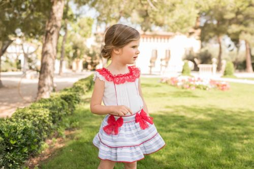 PRE ORDER SS20 Girls Dolce Petit Red, White and Blue Skirt Set 2258
