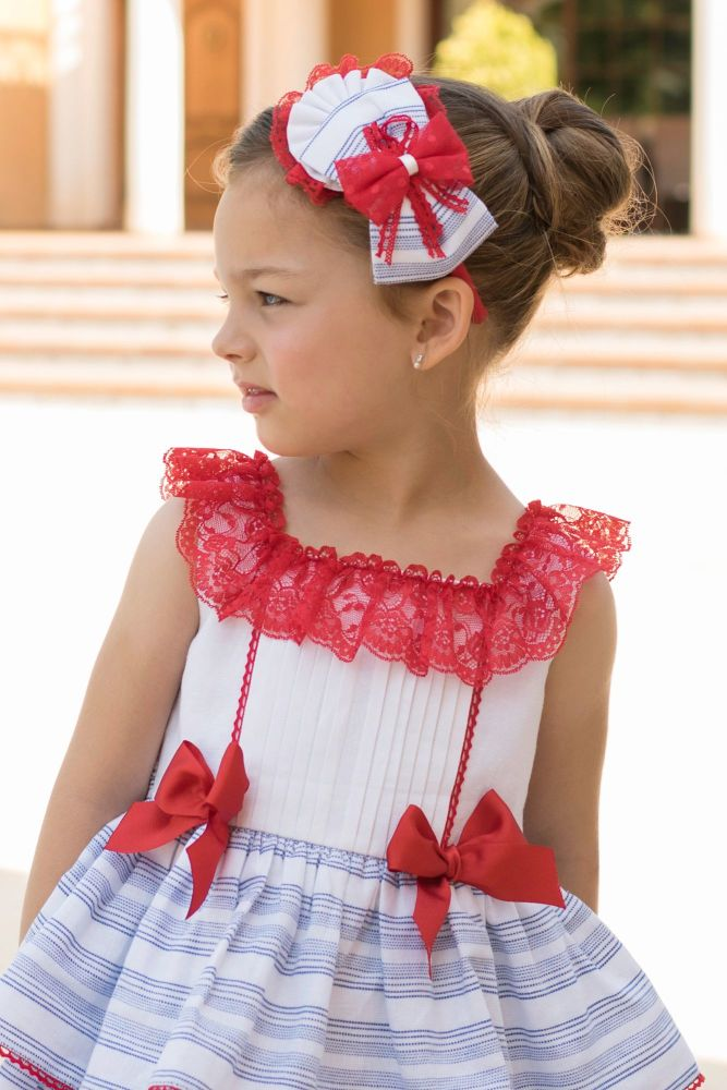 PRE ORDER SS20 Girls Dolce Petit Red, White and Blue Headpiece 2258DP