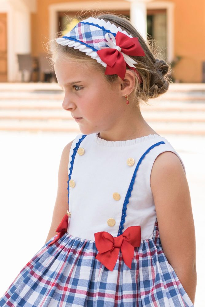 PRE ORDER SS20 Girls Dolce Petit Red, White and Blue Headpiece 2260D