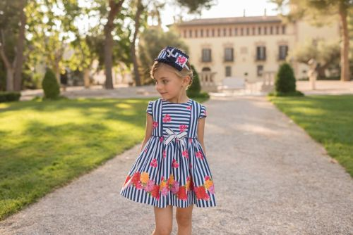 PRE ORDER SS20 Girls Dolce Petit Navy and White Dress 2254