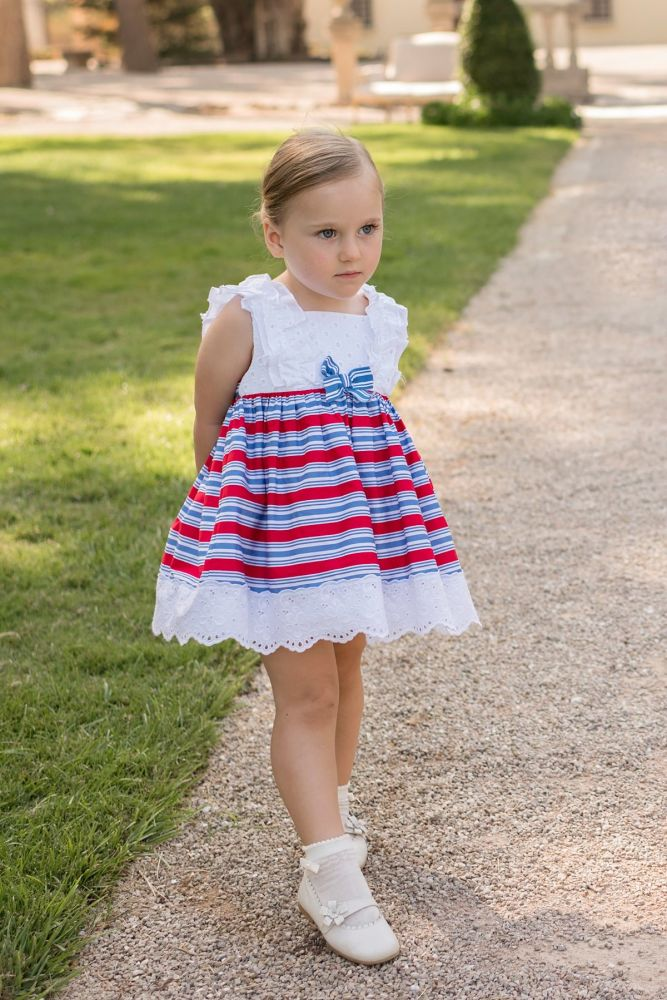 PRE ORDER SS20 Girls Dolce Petit Red, White and Blue Dress 2271
