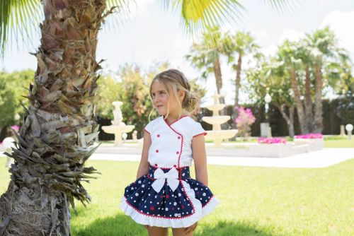 PRE ORDER SS20 Girls Dolce Petit Navy, Red and White Skirt Set 2275