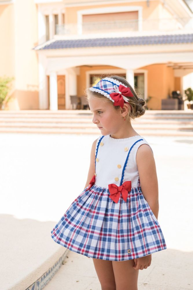 PRE ORDER SS20 Girls Dolce Petit Red, White and Blue Dress 2260