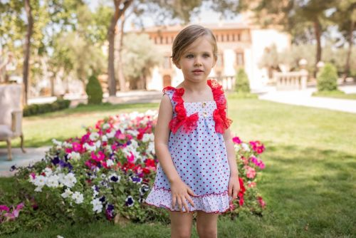 PRE ORDER SS20 Girls Dolce Petit Red, White and Blue Dress 2236