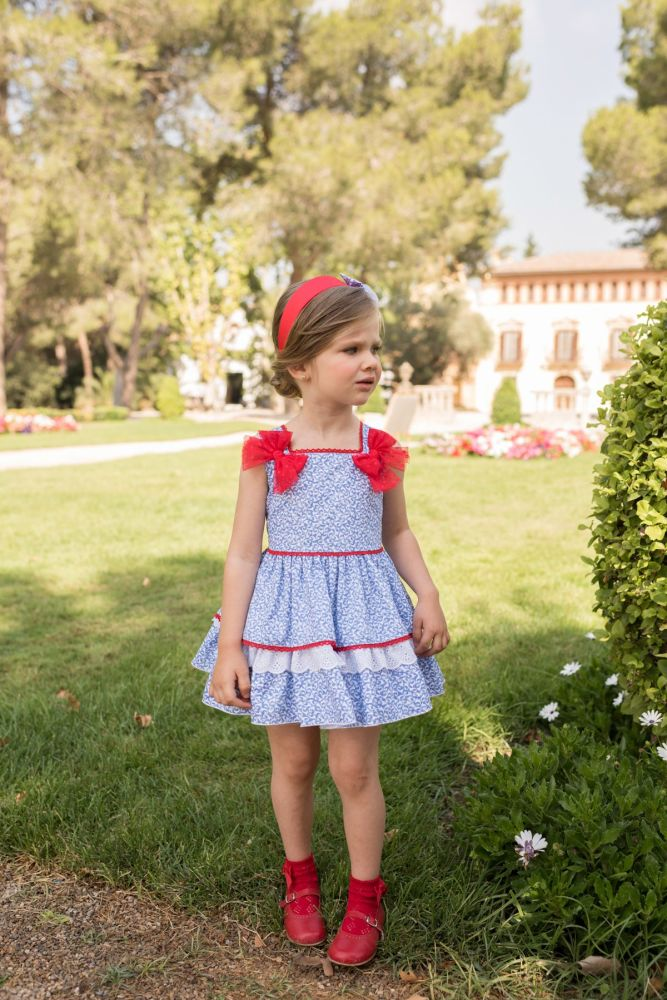 PRE ORDER SS20 Girls Dolce Petit Red, White and Blue Dress 2259
