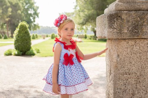 PRE ORDER SS20 Girls Dolce Petit Red, White and Blue Dress 2235