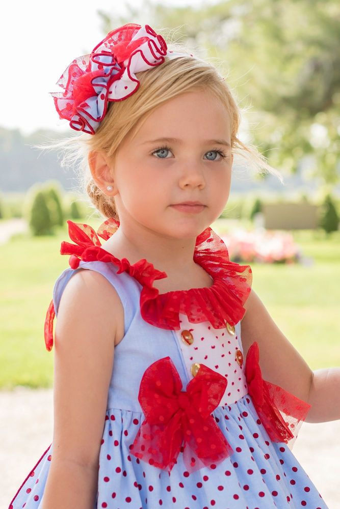 PRE ORDER SS20 Girls Dolce Petit Red, White and Blue Headpiece 2235D