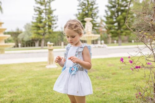 PRE ORDER SS20 Girls Dolce Petit Blue and White Dress 2226