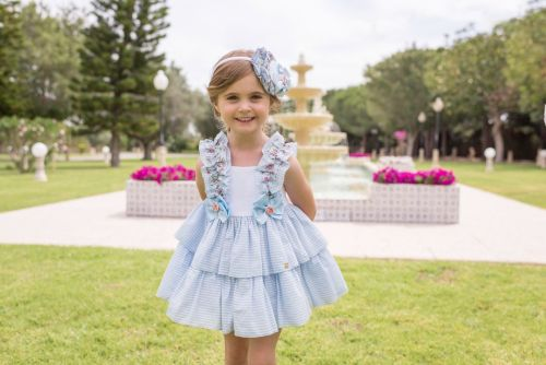 PRE ORDER SS20 Girls Dolce Petit Blue and White Dress 2225