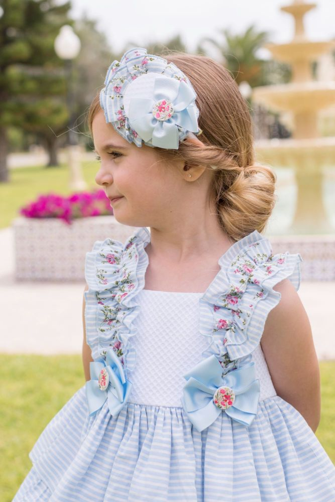 PRE ORDER SS20 Girls Dolce Petit Blue and White Headpiece 2225D