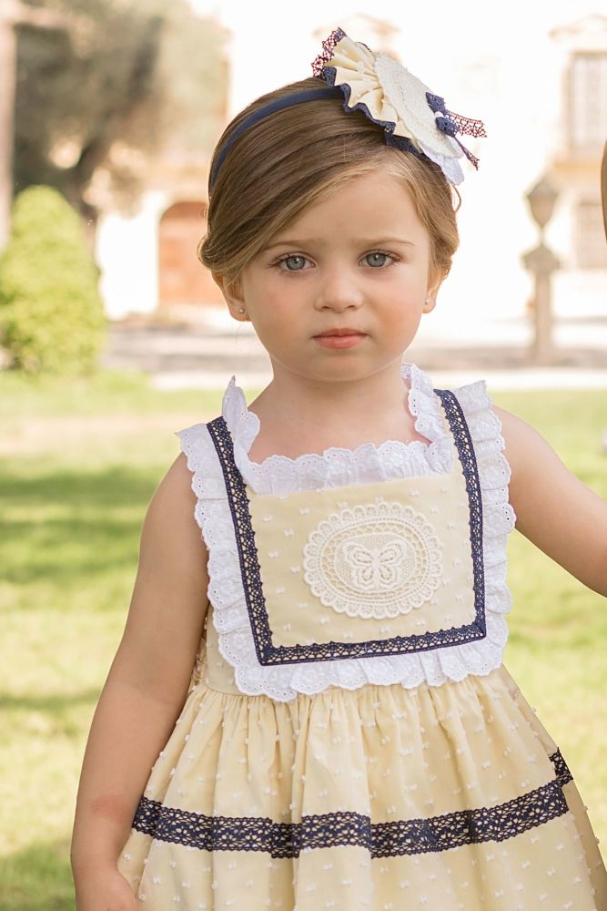 PRE ORDER SS20 Girls Dolce Petit Lemon and Navy Dress 2224