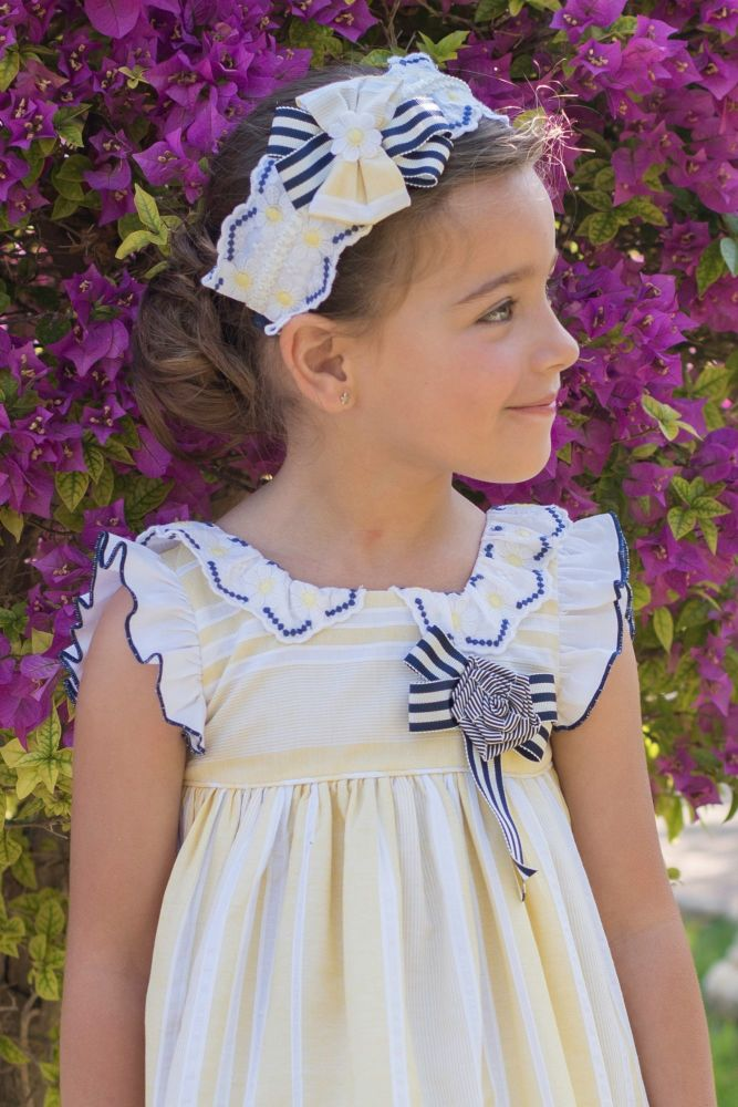 PRE ORDER SS20 Girls Dolce Petit Lemon and Navy Headpiece 2222D