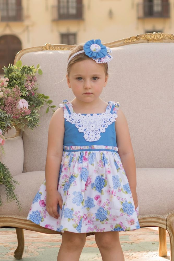 PRE ORDER SS20 Girls Dolce Petit Blue and White Floral Dress 2218