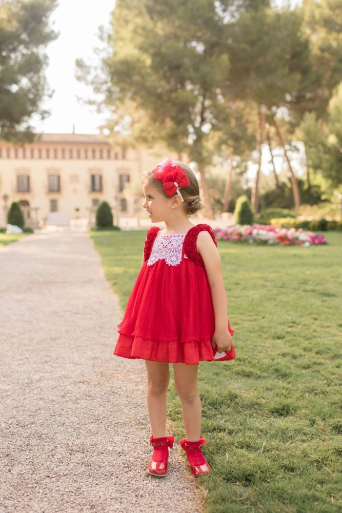 PRE ORDER SS20 Girls Dolce Petit Red Dress 2216