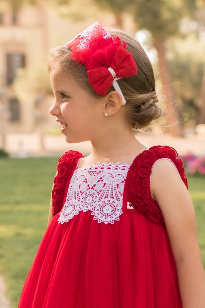 PRE ORDER SS20 Girls Dolce Petit Red Headpiece 2215D