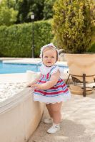 Girls Dolce Petit Red, White and Blue Dress and Pants 2170