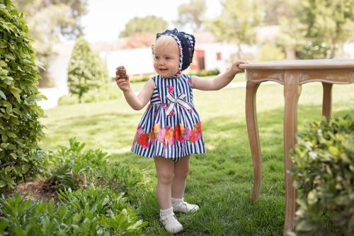 PRE ORDER SS20 Girls Dolce Petit Navy and White Dress and Pants 2154