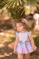 Girls Dolce Petit Blue, Pink and Camel Dress and Pants 2152