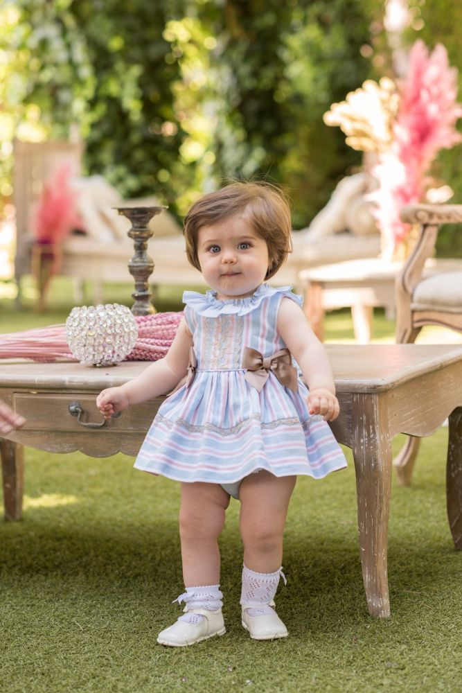 PRE ORDER SS20 Girls Dolce Petit Blue, White and Camel Dress and Pants 2149