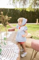 Girls Dolce Petit Blue and White Dress and Pants 2141