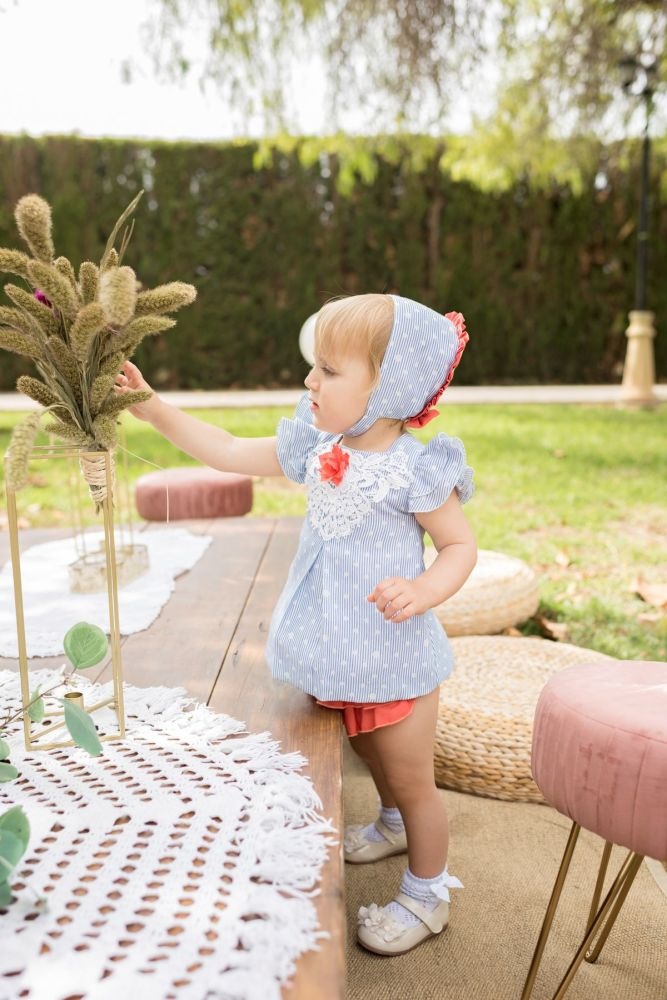 PRE ORDER SS20 Girls Dolce Petit Blue and White Dress and Pants 2141
