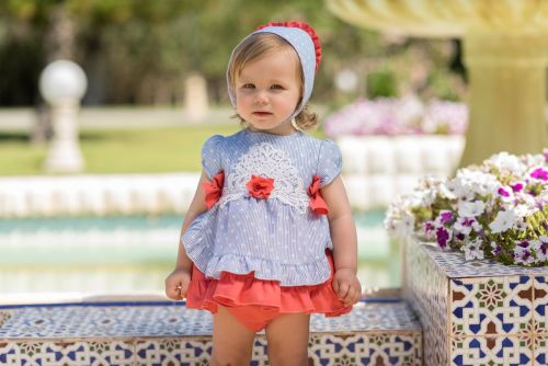 PRE ORDER SS20 Girls Dolce Petit Blue and White Dress and Pants 2142