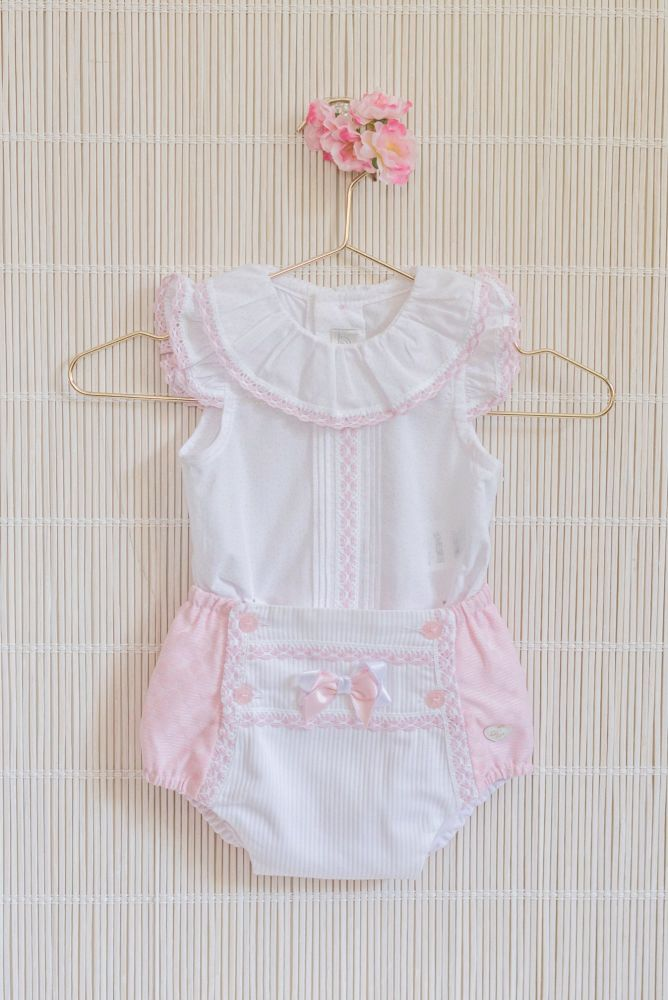 PRE ORDER SS20 Girls Dolce Petit Pink and White Set 2015