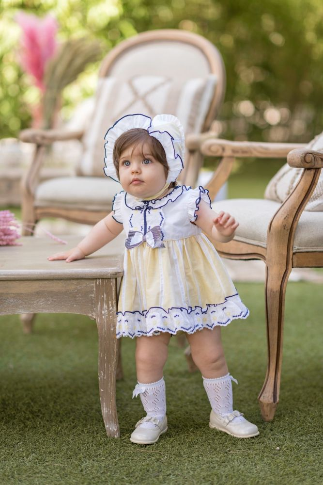 PRE ORDER SS20 Girls Dolce Petit Lemon and Navy Dress and Pants 2122