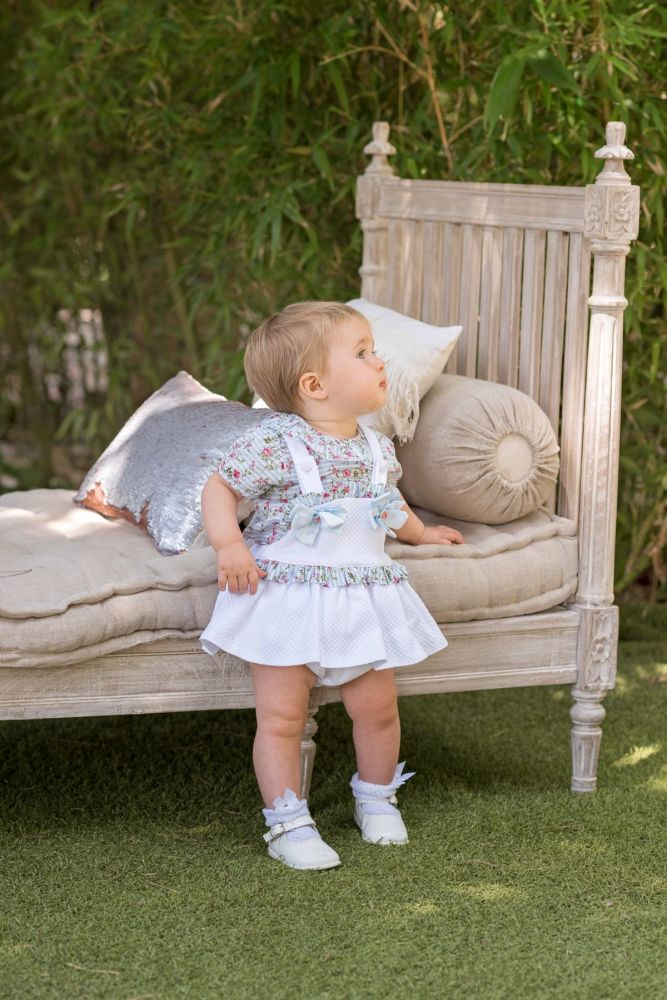 PRE ORDER SS20 Girls Dolce Petit Blue and White Set 2125