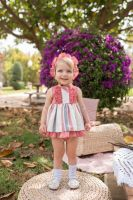 Girls Dolce Petit Red and Cream Dress and Pants 2128