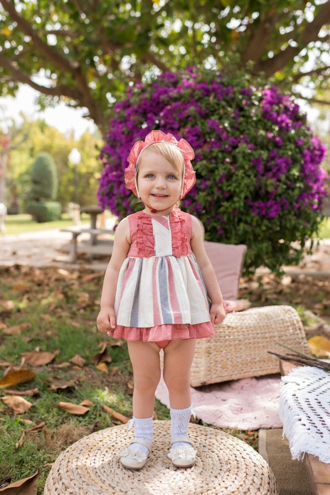 PRE ORDER SS20 Girls Dolce Petit Red and Cream Dress and Pants 2128