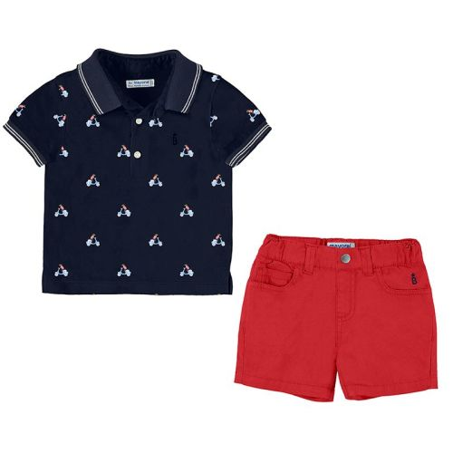 Boys Mayoral Polo Shirt and Shorts Set 1295 - Hibiscus