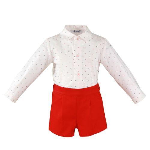 PRE ORDER SS20 Boys Miranda Red and White Set 154