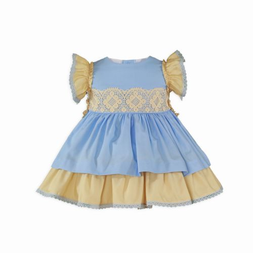 PRE ORDER SS20 Girls Miranda Blue and Camel Dress 145