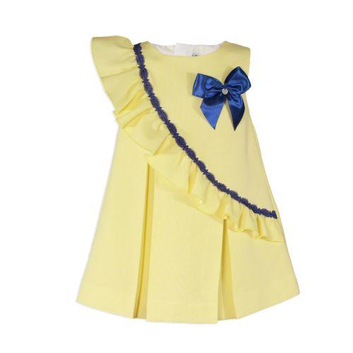 PRE ORDER SS20 Girls Miranda Lemon, Navy and White Dress 240