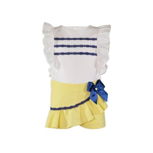 PRE ORDER SS20 Girls Miranda Lemon, Navy and White Skirt Set 241