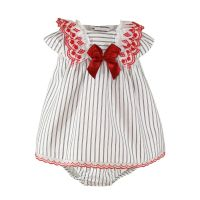 Girls Miranda Navy and White Dress with Red Bow and Pants 41