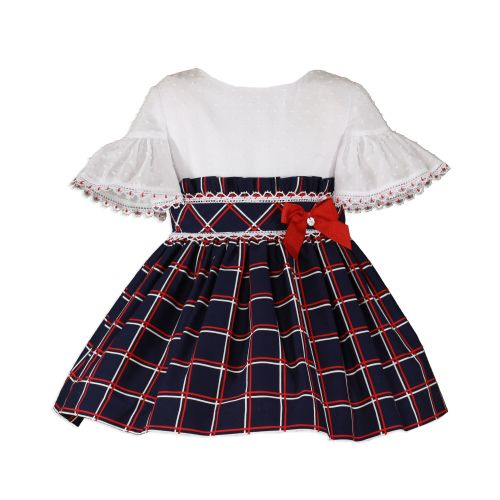 PRE ORDER SS20 Girls Miranda Navy, Red and White Dress 256