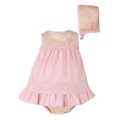 PRE ORDER SS20 Girls Miranda Pale Pink Dress, Pants and Bonnet 126