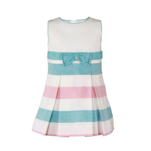 PRE ORDER SS20 Girls Miranda Turquoise and White Dress 235