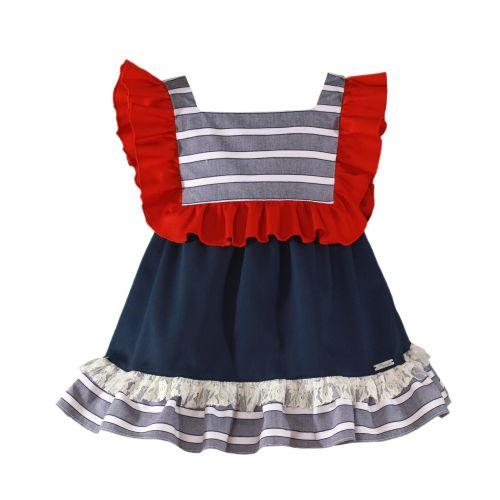 PRE ORDER SS20 Girls Miranda Navy, Red and White Dress 287