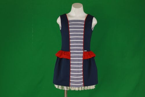 PRE ORDER SS20 Girls Miranda Navy, Red and White Dress 386